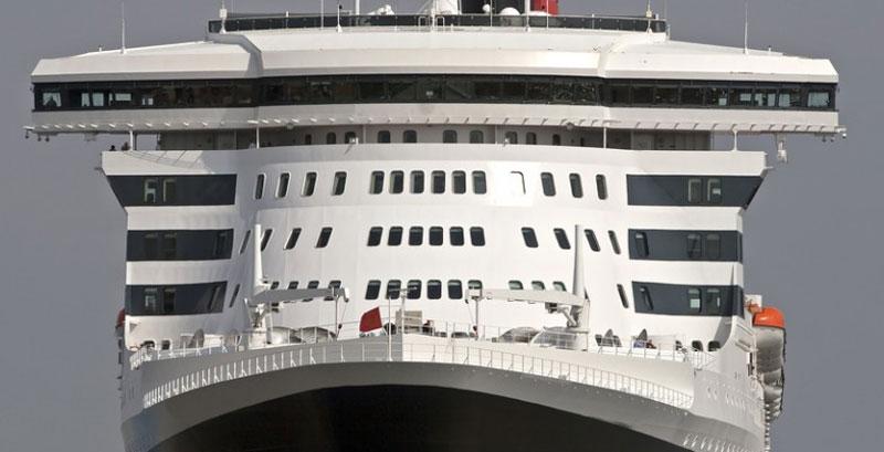 An imposing modern cruise ship.